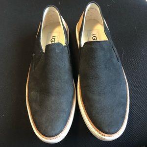 UGG 7.5 Black Leather slip on